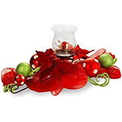 National Tree 30 Inch Decorative Collection Mesh Ribbon Centerpiece with Candle Holder, Red Berries, Sprigs and Ball Ornaments (DC3-166-30C-A)