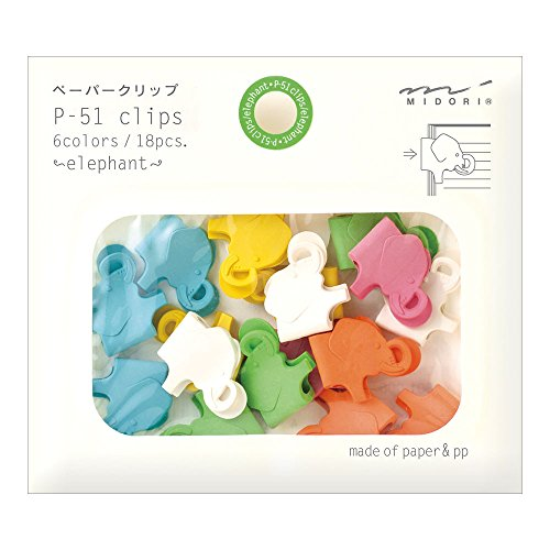 Midori Paper Clips, Animal Elephant, 18 Pieces (43301006)