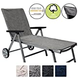 Beautissu XL Sunlounger Towel Marbella 70x200cm with Hood No Sliding Extra Large Beach Towel for Sunbathing Grey