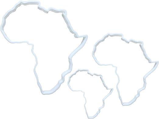 Juego de 3 moldes para galletas con forma de mapa de África: Amazon.es: Hogar