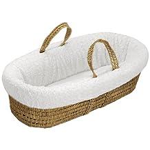 BabyDoll Sheepskin Moses Basket Set, White