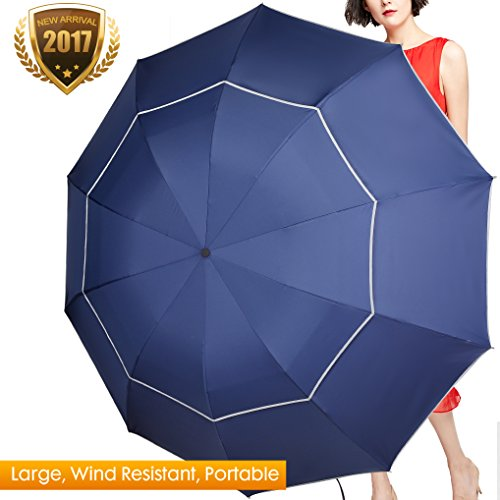 Extra Large Golf Umbrella, 60 Inch Plus Big Lightweight & Sturdy Travel Umbrellas with Compact Folding size 11.8
