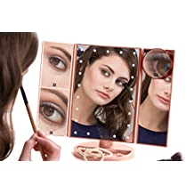 4-in-1 Portable LED Lighted Makeup Mirror - Cordless Vanity Mirror with Lights - 4 Rose Gold Mirrors in One (1X, 2X, 3X, 10X) with Detachable Pocket Mirror, Powered by USB or Batteries (included)
