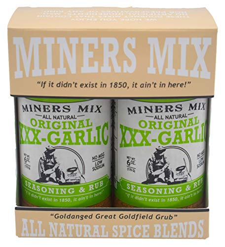 Miners Mix XXX Garlic Seasoning A Whole Lot More than Plain Ol Garlic Salt. For Oven Roasted, Grilled, BBQ, or Smoked Beef, Steaks, Pork, Lamb, and Vegetables. All Natural Low Salt No MSG 2 pk