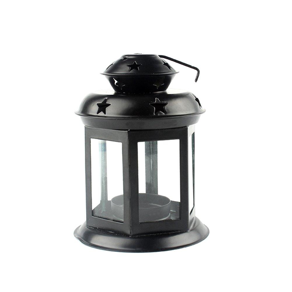 MoGist candeliere vento densità Lanterna tavolo in vetro vintage Lanterna ferro in Candelabro Home matrimonio tavolo decorazioni, bianco, 16 * 9.6 cm
