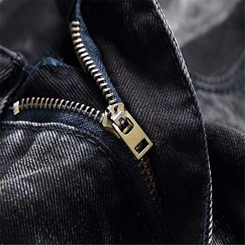 Coupe Noir Élastique Zhangcaiyun En Eu Noir Hommes 1 Pour Extensible Pantalons Denim 3 Slim Déchiré Skinny Jean 37 Taille Force couleur qpqYZ