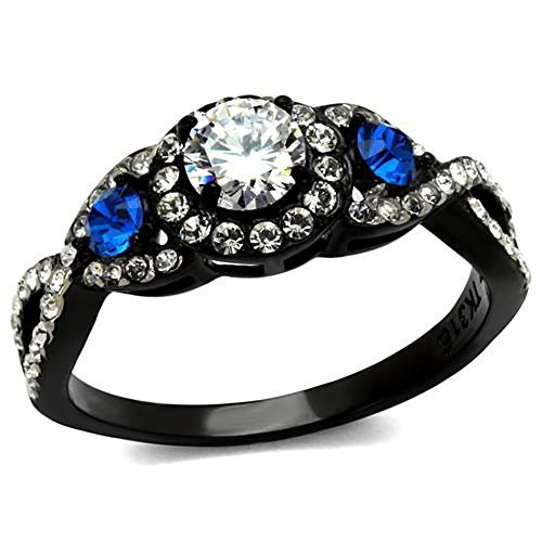1.26 Ct Clear & Blue Cubic Zirconia Halo Stainless Steel Black Engagement Ring Size 9