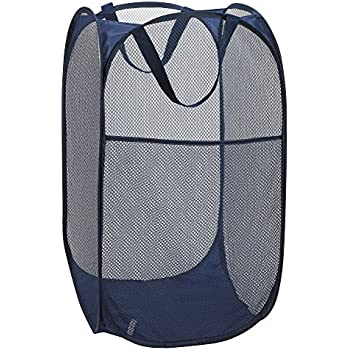 "Mesh Pop-Up Laundry Hamper - 14"" x 24"" - Easy to Open and Folds Flat for Storage. Hampers Mesh Material Helps Eliminate Laundry Odors and Moisture. Great Laundry Hamper for College Dorm. (Navy Blue)"