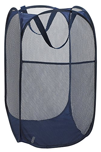 "Handy Laundry Collapsible Mesh Foldable Hamper 14"" x 14' x 24"" Navy Blue - GREAT FOR HOME OR TRAVEL: Use as a pop-up laundry hamper, toy basket or fold it flat for easy packing when on the go. STURDY MESH CONSTRUCTION: Durable mesh material allows air to circulate in order to eliminate moisture and odors. STORES FLAT: Twist the flexible lightweight frame on this pop up hamper to fold it flat for convenient storage. - laundry-room, hampers-baskets, entryway-laundry-room - 51D7VbCUUWL -"