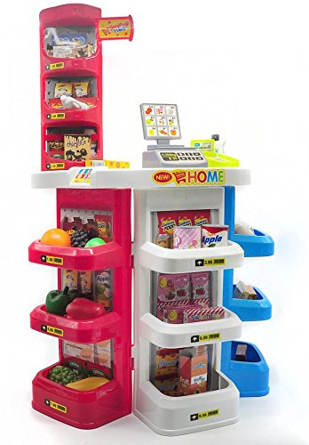 AMPERSAND SHOPS Specialty Grocery / Food Shop Cash Register Stand Playset with Shelves and Various Fruits, Veggies, Dairies, and Treats