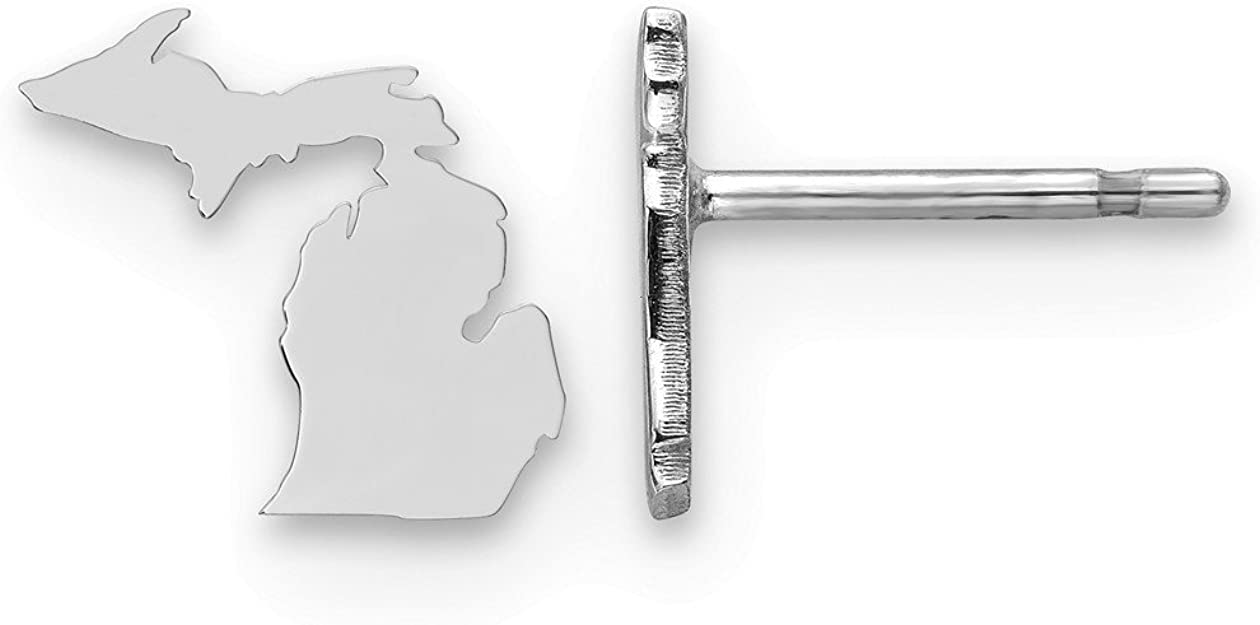 Sterling Silver Rhodium-plated NE Small State Earring Travel
