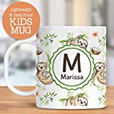 Kids Personalized Mug Sloth Animals Customize with Name and Initial Lightweight and Drop Proof | Dishwasher Safe | Child Toddler Cup BPA Free