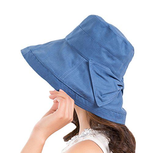 CACUSS Women's UPF 50+ Foldable Linen/Cotton Hat Big Brim with Big Bowknot and Inner Drawstring(Navy) ()