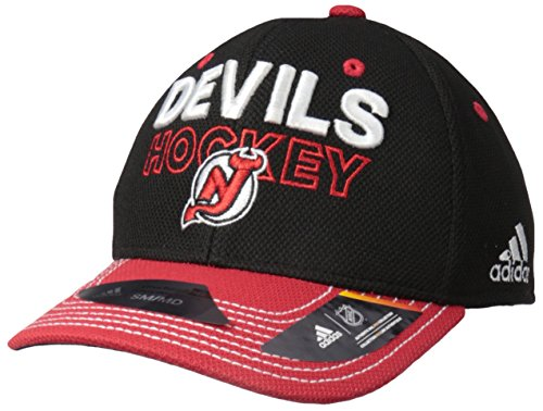 adidas NHL New Jersey Devils Adult Men Pro Authentic Locker Room Structured Flex, Large/X-Large, Black
