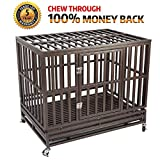 Gelinzon Heavy Duty Dog Cage Crate Strong Metal Kennel for Large Dogs, Easy to Assemble Pet Playpen with Four Wheels For Sale