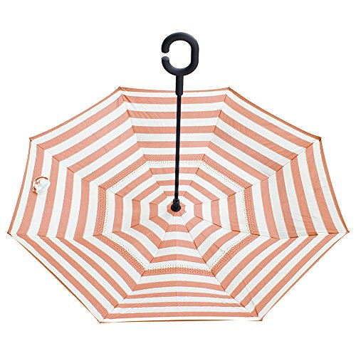 Stripes Self Stick - Inverted Umbrella by Satchpro, Reverse Open Windproof Umbrella with C-Shaped Handle & Carrying Case (Pink Stripe)