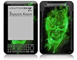 Flaming Fire Skull Green - Decal Style Skin fits Amazon Kindle 3 Keyboard (with 6 inch display)