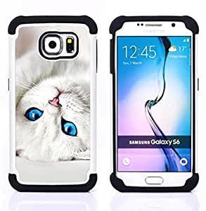 Dragon Case- Dise?¡Ào de doble capa pata de cabra Tuff Impacto Armor h??brido de goma suave de silicona cubierta d FOR Samsung Galaxy S6 G9200- EYES WHITE CUTE PET CAT KITTEN BABY