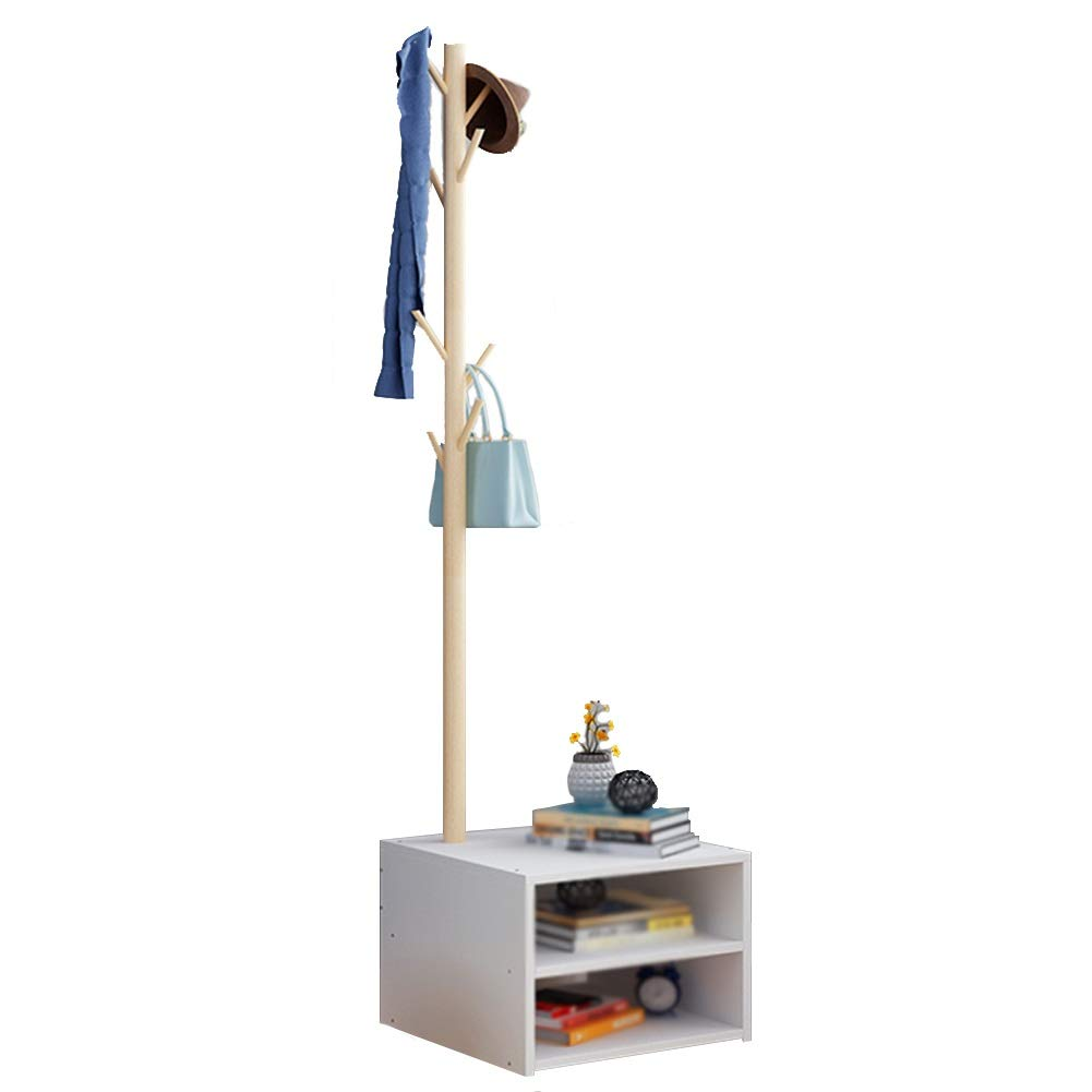 White Double layer Floor Standing Hat and Coat Rack Clothes Hat Tree Stand Hanger Bedroom Household Simple Shelf Storage Rack GAOFENG (color   Natural, Size   Single Layer)