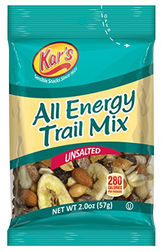 Kars All Energy Unsalted Trail Mix 2 Oz Single Serving Bags   Peanuts  Banana Chips  Raisins  Sunflower Kernels  Peanuts  Dates  Mangos   Almonds  Pack Of 48