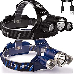 Flagship-X Nighthawk USB Rechargeable Waterproof LED Camping Headlamp Flashlight For Running (2-pk Black & Blue)
