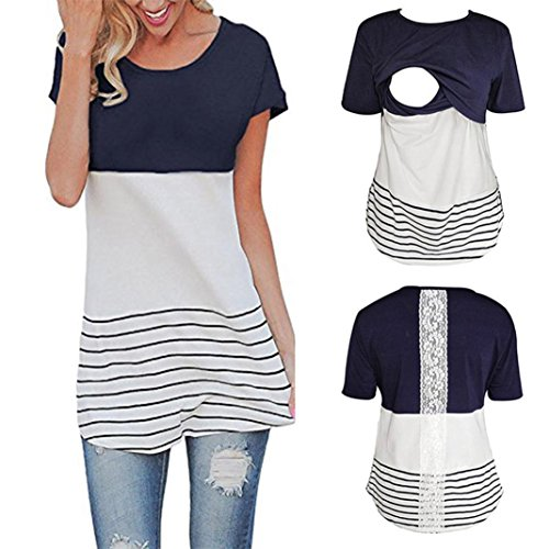 Maternity T Shirt - Lace Splice Pregnant Nursing Tank Top - Baby Bump Tee Pajamas Double Layer Breastfeeding Pregnancy Basic Top (M, Navy)