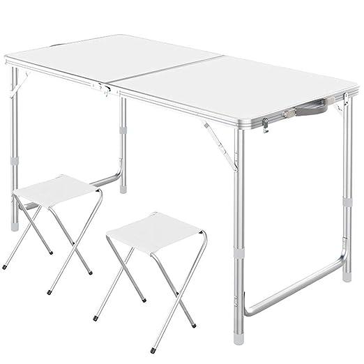 LHJJJQAQ Mesa Plegable con 2 taburetes Plegables Altura Ajustable ...