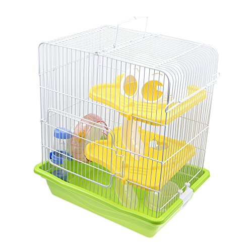3 Levels Hamster DIY Cage Habitat CAGE03 with Complete Habitat Accessories - Cage Green Hamster