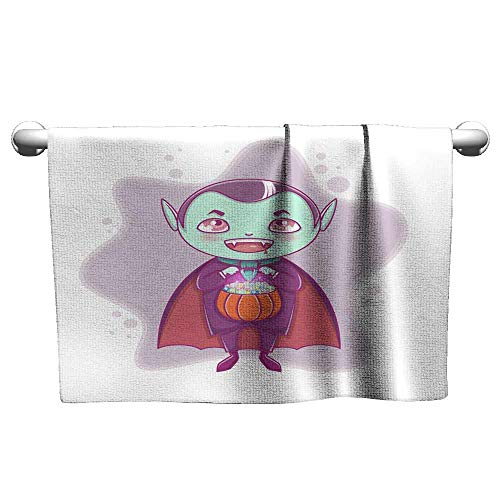 Sports Ttowel Halloween Little Vampire Dracula Boy Kid with Smiling face in Halloween Costume with Pumpkin in his Hands Guest Towels 14 x 14 Inch -