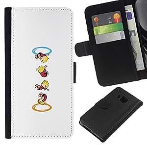 LECELL--Cuero de la tarjeta la carpeta del tirón Smartphone Slots Protección Holder For HTC One M7 -- Calvin Hobbs Portal --