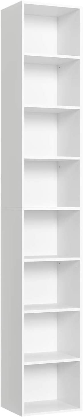 Homfa CD DVD Storage Tower Rack Media Storage Unit 180cm Bookshelf Display Bookcase White