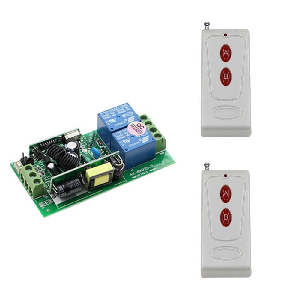 Latest AC85V 110V 220V 250V 2CH Wireless Remote Control Switch System 1Receiver + 2Transmitters for Smart Home 315 433mhz