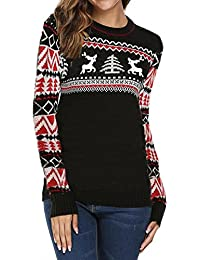 Womens Grils Christmas Pullover Sweater Cute Reindeer Striped Long Sleeve Crewneck Jumper