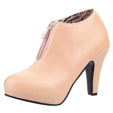 Logobeing Botines Mujer Tacon Zapatos de Tacon Mujer Sólidos Botas de Tobillo con Cremallera Súper Altas Calzado Redondo Informal: Amazon.es: Zapatos y ...