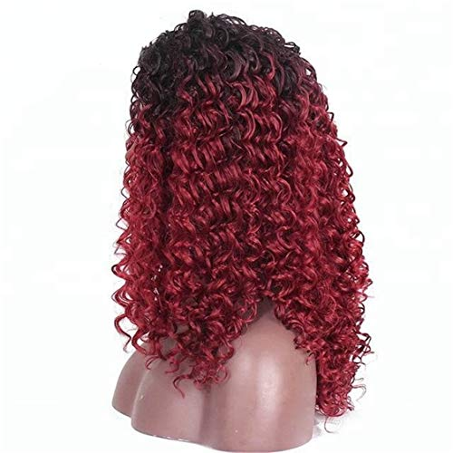 Cool2day Synthetic Wigs Loose Curly Wine Red Hair Wig 99J# Long Kinky Wigs 100% Kanekalon Fiber For Women