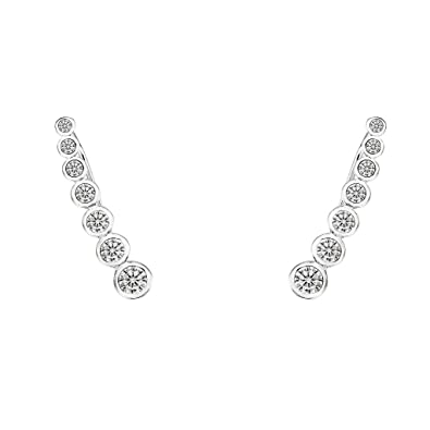 EVER FAITH® 925 Sterling Silver Round CZ Simple Ear Cuff Wrap Sweep Hook Earrings 1 Pair fAC5Few