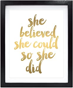 Susie Arts 8X10 Unframed She Believed She Could So She Did Gold Foil Quote Art Print Home Decor Girl Wall Art Nursery Decor Motivational Art Inspirational Print V158