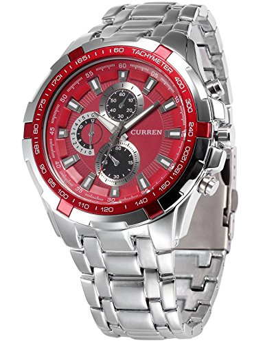 Dial Red Stainless (AMPM24 Red Dial Men's Silver Stainless Steel Band Analog Sport Quartz Wrist Watch CUR010)