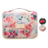 CalorMixs Cosmetic Bag Multifunction Toiletry Bag Portable Makeup Pouch Waterproof Travel Hanging Organizer Bag for Women Girls (White Flower)