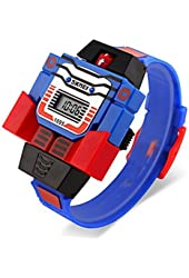 YPS Boy's Robot Assembly Transformer Design Toy Digital Wrist Watch WTH3125