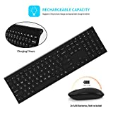 Wireless Keyboard and Mouse, Vive Comb 2.4GHz Rechargeable Compact Whisper-quiet Full-size Keyboard and Mouse Combo With Nano USB Receiver for Windows, Laptop, PC,Notebook(Black)