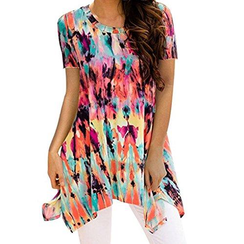 TOPUNDER Irregular Printing T-Shirt Sleeveless Blouse Loose Tunic Tank Tops for Women -