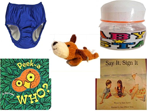 Children's Gift Bundle - Ages 0-2 [5 Piece] - My Pool Pal Reusable Swim Diaper, Royal Blue 24 Months, 18-25 Pounds - ID Gear Baby Bottle Baby Star 4 oz - Soft n' Cuddly Big Head Puppy - Peek-a-WHO? by Secure-Order-Marketplace Gift Bundles