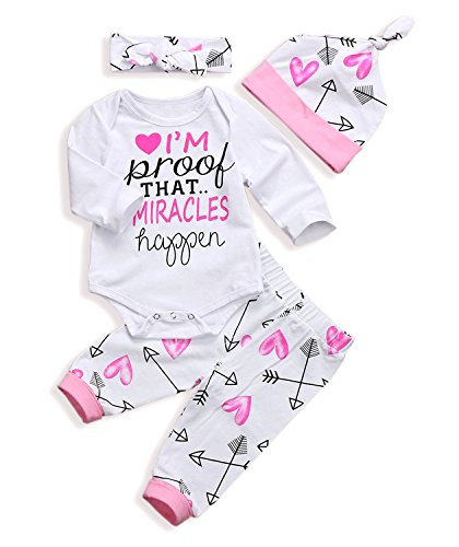 Baby Girls Clothes Pink Long Sleeve Romper Pants Set+Hat+Bowknot Headband 4Pcs Outfits(12-18 Months)