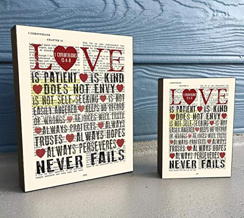 Love Is Patient Love Is Kind - 1 Corinthians 13:4-8- Vintage Bible Verse Scripture Art Print on Wooden Block, Christian Home & Wall Decor Sign Gift