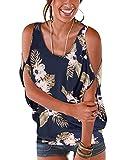 YOINS Top for Women Random Floral Print Cold Shoulder Scoop Neck Loose Tie up Back T Shirts Navy-01 XL