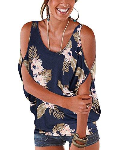 Manches Noues t Marine Dnudes Batwing Haut Imprime Lache Ouvertes Blouse Floral Col YOINS Round Sexy Demi 1 Bleu paules Femme Chic avec Tops pywax51qZ5