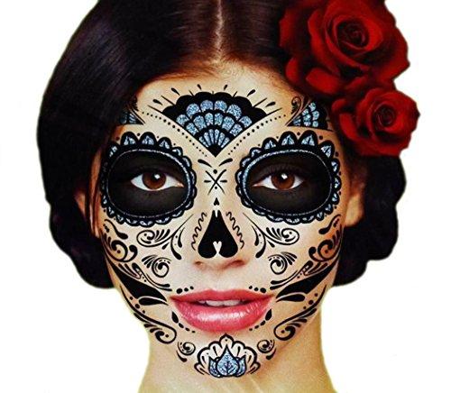Black Glitter Skeleton Day of the Dead Temporary Face Tattoo Kit: Men or Women - 2 Kits (Makeup Halloween Skull Sugar)