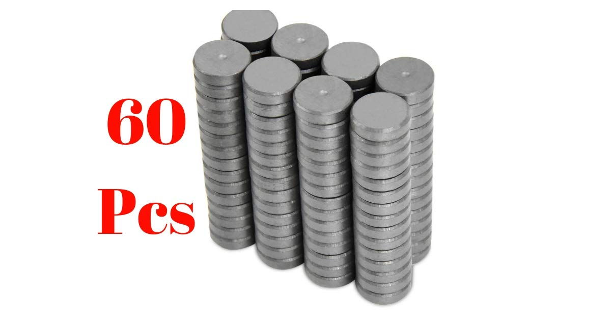 60pcs Refrigerator magnets Heavy-Duty Craft Magnets Fridge Magnets 18mm (11/16 inch) Powerful [Grade 11] Ferrite Magnets, Magnets for Crafts, Hobby & Science projects School ceramic industrial magnets iTechVue