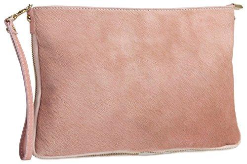 Big Handbag Shop - Cartera de mano con asa de piel para mujer One rosa pastel